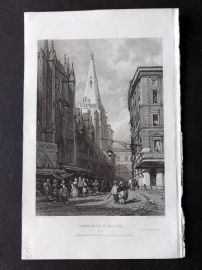 Roscoe 1834 Antique Print. Church of St. Niziers, Lyons, France